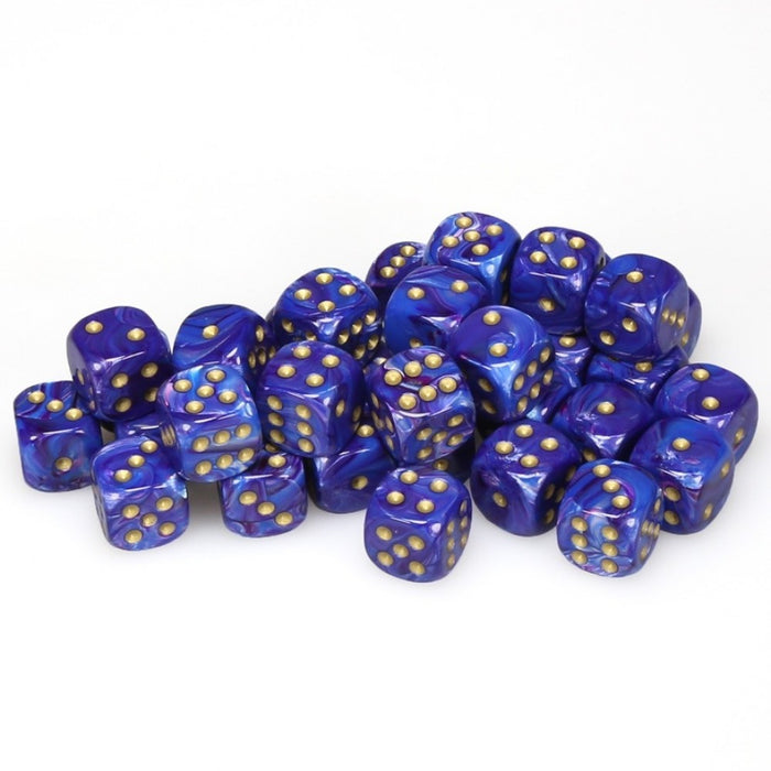 Chessex 36pcs/12mm D6 Dice Set: Lustrous Purple w/ Gold
