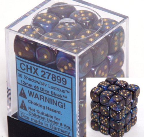 Chessex 36pcs/12mm D6 Dice Set: Lustrous Shadow with Gold