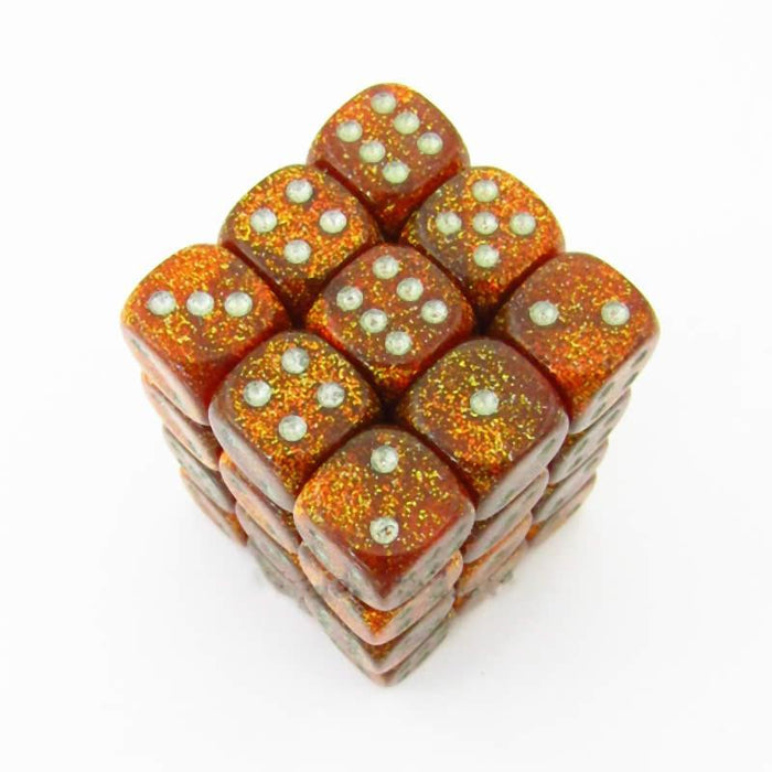Chessex 36pcs/12mm D6 Dice Set: Glitter Gold/Silver