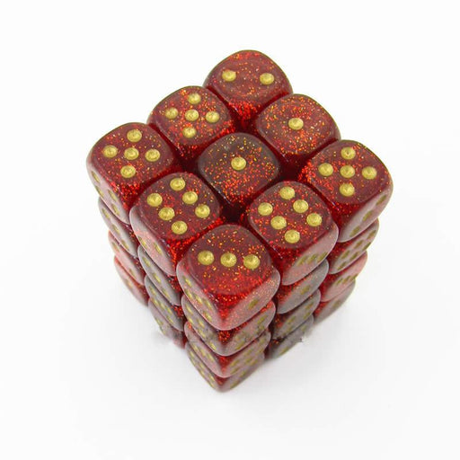 Chessex 36pcs/12mm D6 Dice Set: Glitter Ruby/Gold