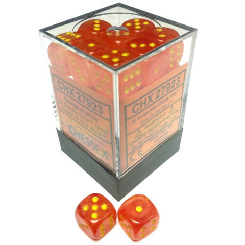 Chessex 36pcs/12mm D6 Dice Set: Ghostly Glow - Orange/Yellow