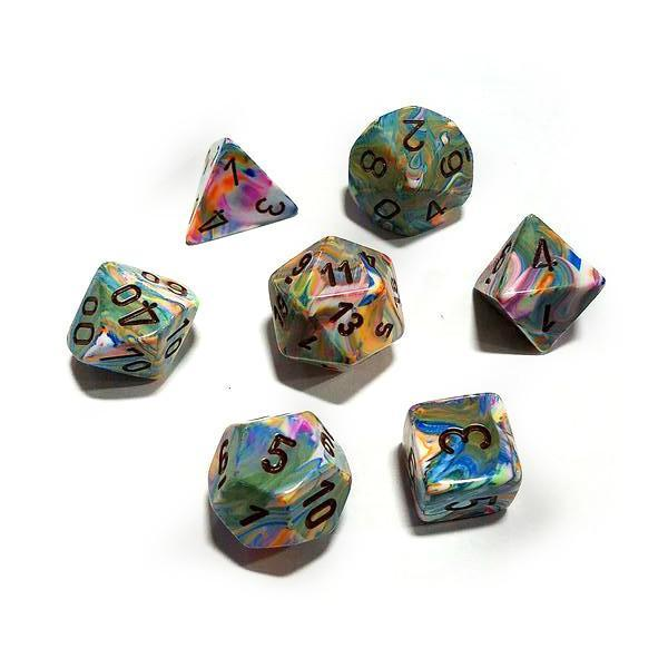 Chessex 7pcs Dice Set: Festive - Vibrant/Brown for MtG & DnD | Wizardry Foundry