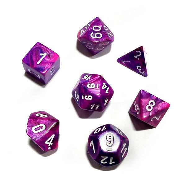Chessex 7pcs Dice Set: Festive - Violet/White for MtG & DnD | Wizardry Foundry