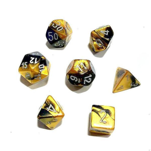 Chessex 7pcs Dice Set: Gemini - Black/Gold for MtG & DnD | Wizardry Foundry