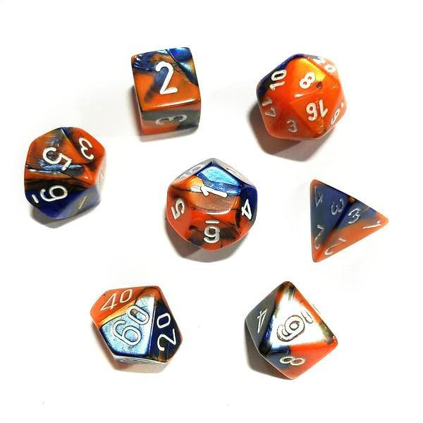 Chessex 7pcs Dice Set: Gemini - Blue/Orange for MtG & DnD | Wizardry Foundry
