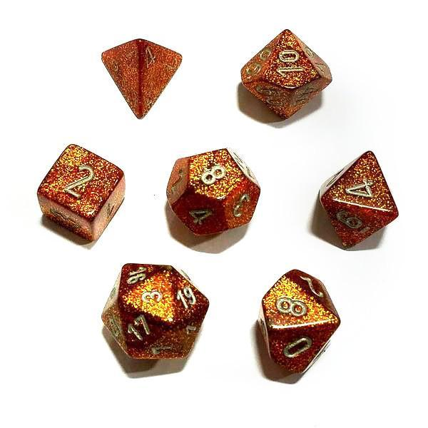 Chessex 7pcs Dice Set: Glitter - Gold/Silver for MtG & DnD | Wizardry Foundry