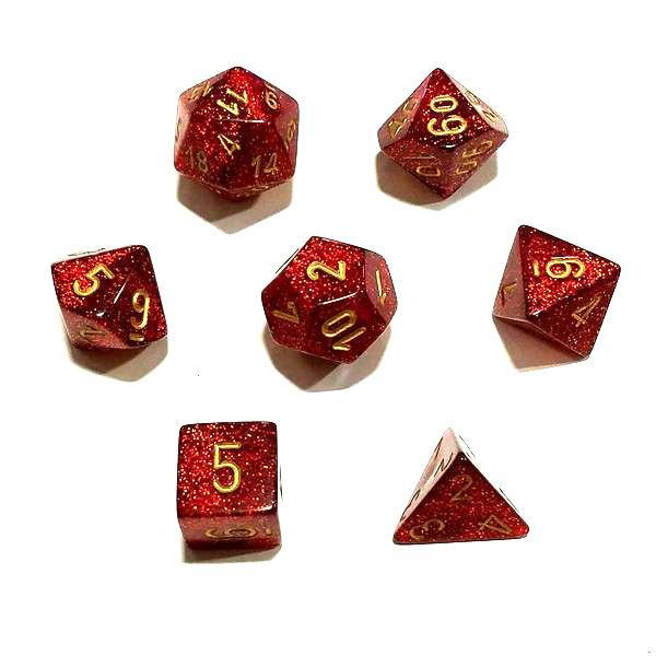 Chessex 7pcs Dice Set: Glitter - Ruby Red/Gold for MtG & DnD | Wizardry Foundry