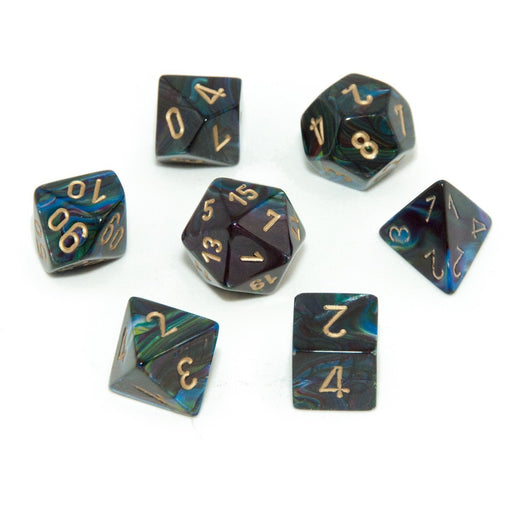 Chessex 7pcs Dice Set: Lustrous - Shadow/Gold for MtG & DnD | Wizardry Foundry