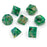 Chessex 7pcs Dice Set: Lustrous - Green/Silver for MtG & DnD | Wizardry Foundry
