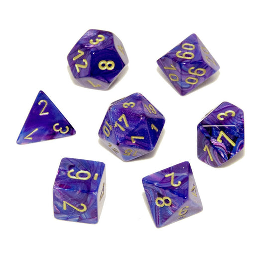 Chessex 7pcs Dice Set: Lustrous - Purple/Gold for MtG & DnD | Wizardry Foundry