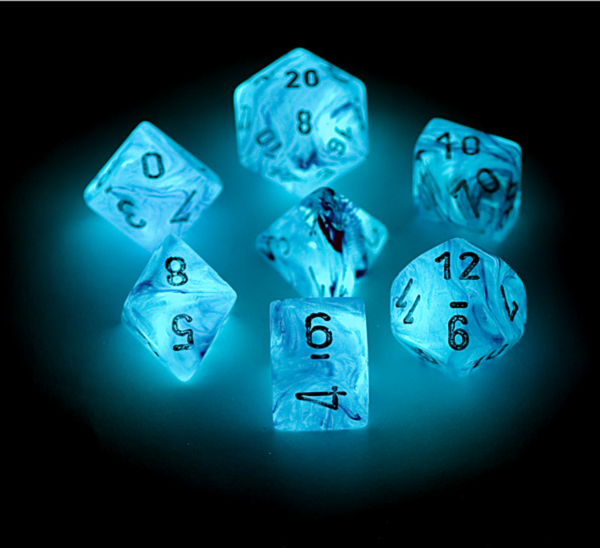 Chessex 7pcs Dice Set: Ghostly Glow - Pink/Silver for MtG & DnD | Wizardry Foundry