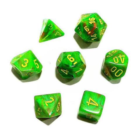 Chessex 7pcs Dice Set: Vertex Slime - Green/Yellow for MtG & DnD | Wizardry Foundry