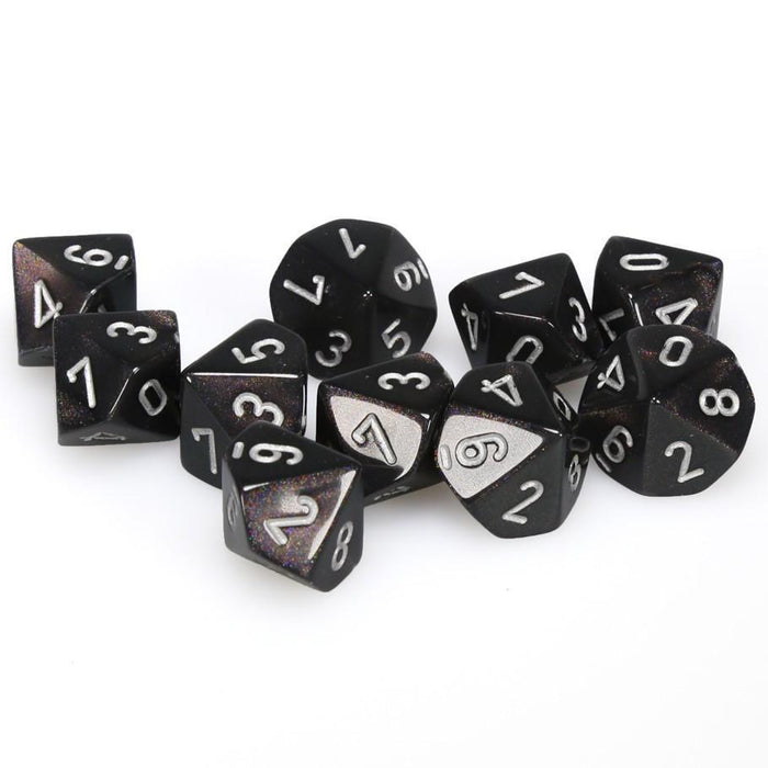 Chessex 10pcs D10 Dice Set: Borealis - Smoke / Silver