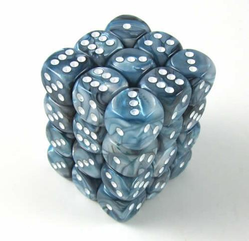 Chessex 36pcs/12mm D6 Dice Set: Lustrous - Slate/White for MtG & DnD | Wizardry Foundry