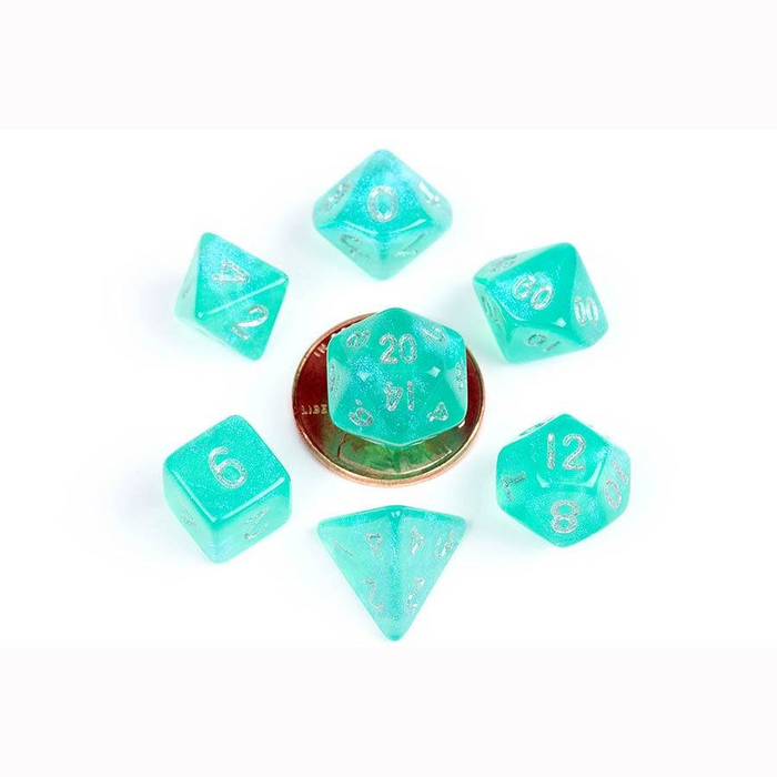 Stardust Turquoise with Silver 7pcs Mini Dice Set