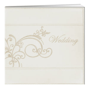 Pioneer Embroidered Scroll and Wedding Sewn Leatherette Cover Photo Album in Ivory Color