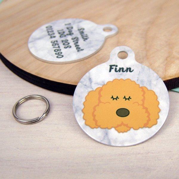 Bichon Frise / Cockapoo / Labradoodle ID Tag Marble