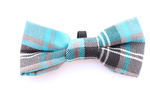 Blue Tartan Dog Bow Tie