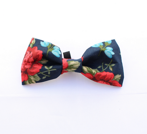 English Navy Rose Dog Bow Tie