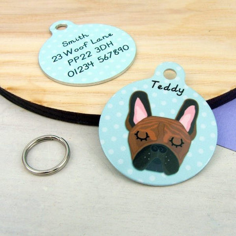 French Bulldog ID Tag Polka Dot