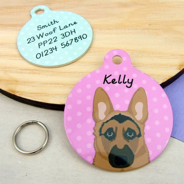 German Shepherd ID Tag Polka Dot