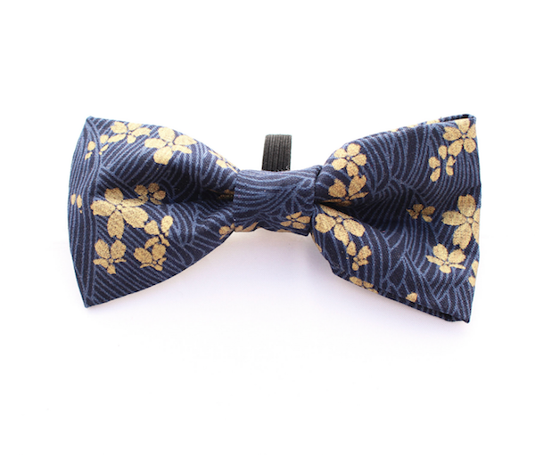 Golden Navy Flower Dog Bow Tie