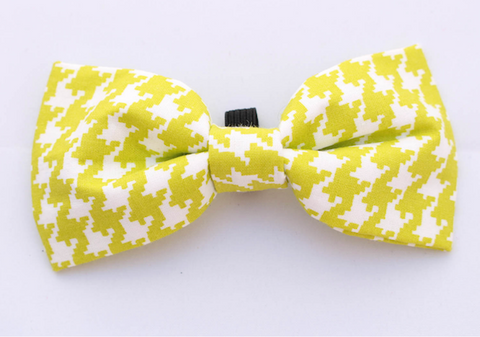 Lime Houndstooth Dog Bow Tie