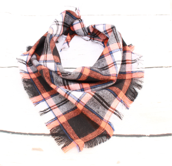 Orange Tartan Dog Bandana