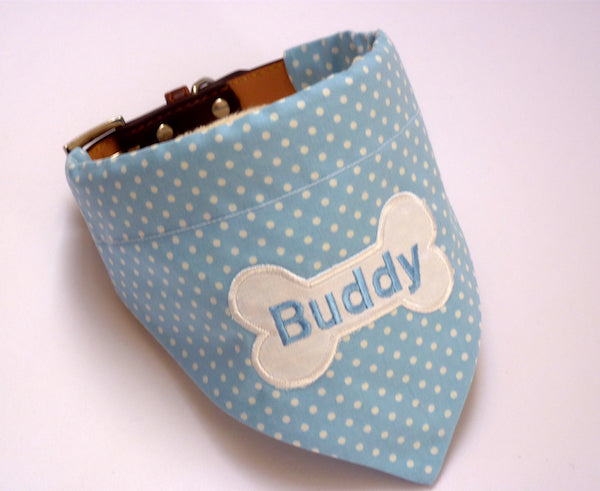 Personalised Dog Bandana Blue Polka Dot