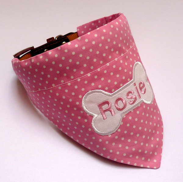 Personalised Dog Bandana Polka Dot Pink
