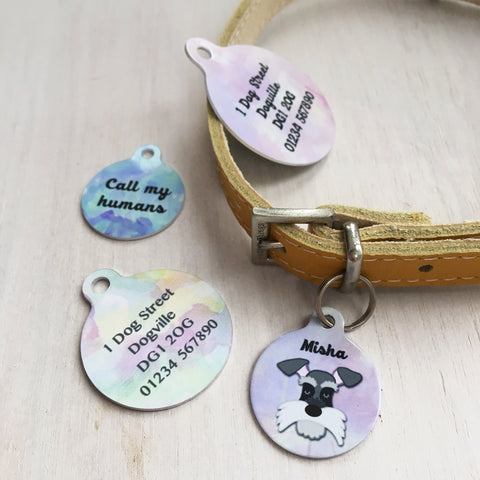 Personalised Dog ID Tag Watercolour