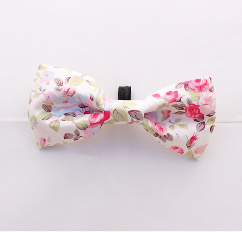 Pink Vintage Dog Bow Tie
