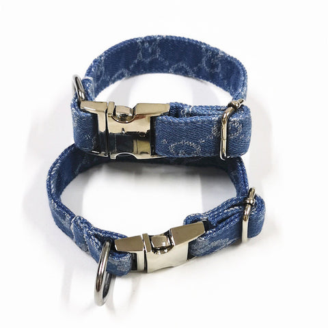 Pucci Denim Dog Collar & Lead Set