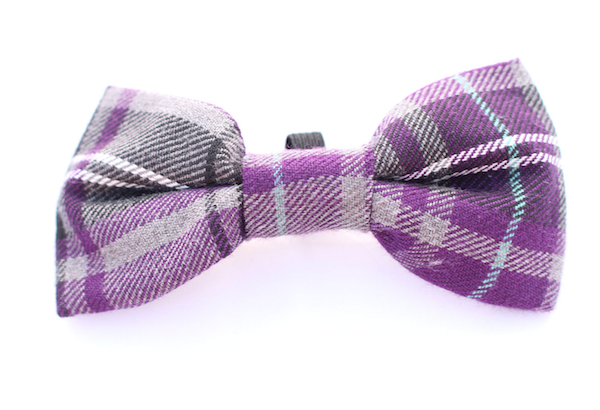 Purple Tartan Dog Bow Tie