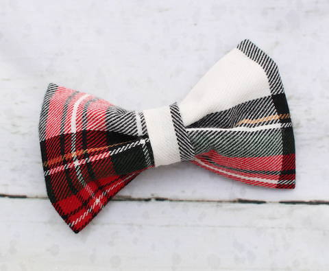 Red & White Plaid Dog Bow Tie