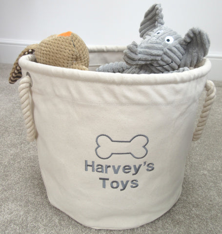 Personalised Dog Toy Storage Basket Dog