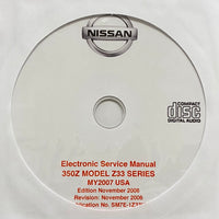 2007 Nissan 350Z Model Z33 Series USA Workshop Manual