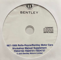 1987-1989 Rolls-Royce and Bentley Workshop Manual Supplement