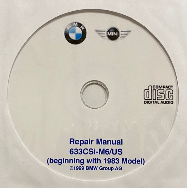 1983-1989 BMW 633CSi-M6/US E24 Workshop Manual;