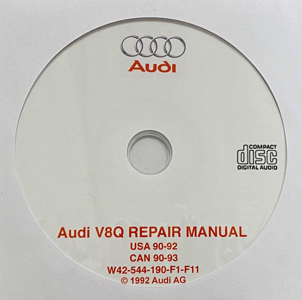 1990-1993 Audi V8 Quattro USA and Canada models Workshop Manual