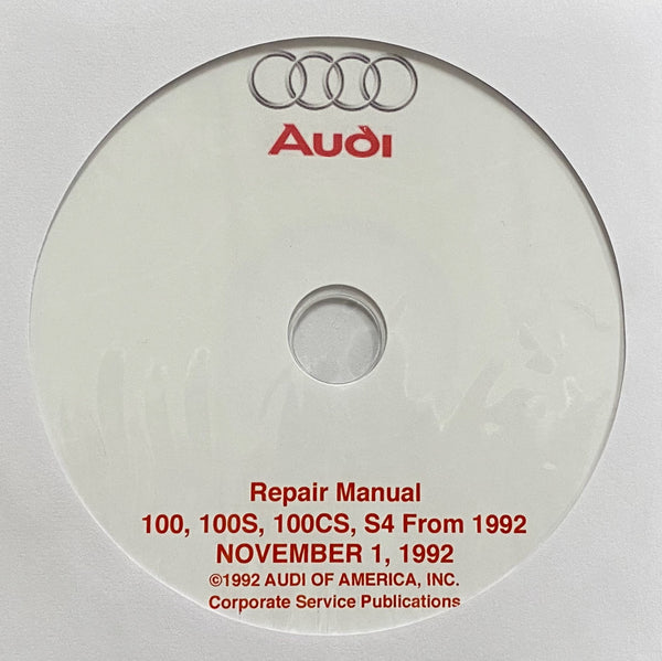 1992-1994 Audi 100, 100S, 100CS and S4 USA and Canada models Workshop Manual