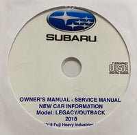 2018 Subaru Legacy/Outback Owner's Manual and Workshop Manual