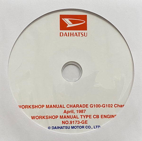 1988-1993 Daihatsu Charade G100-G102 Workshop Manual
