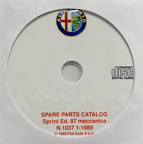 1987-1989 Alfa Romeo Sprint Mechanical Spare Parts Catalog