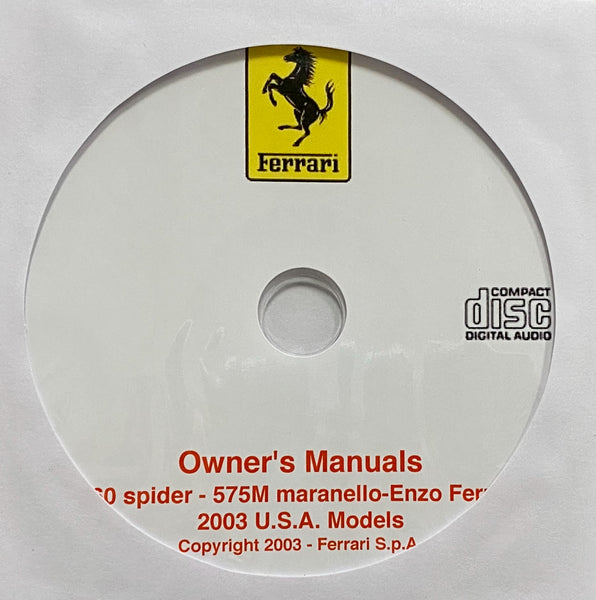 2003 Ferrari 360 spider-575M maranello-Enzo Ferrari USA Owner's Manuals