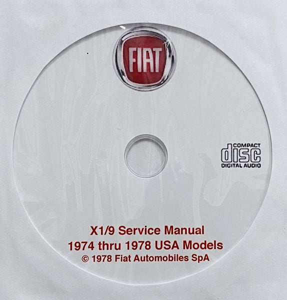 1974-1978 Fiat X1/9 USA Models Workshop Manual