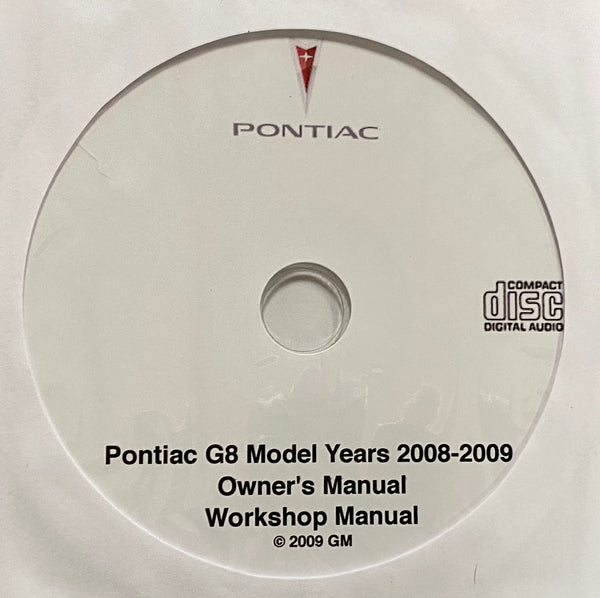2008-2009 Pontiac G8 Owner's Manuals and Workshop Manual