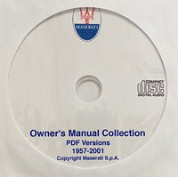 1957-2001 Maserati Owner's Manual Collection