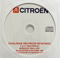 1934-1957 Citroen Traction Avant 7 and 11 Models Parts Catalog