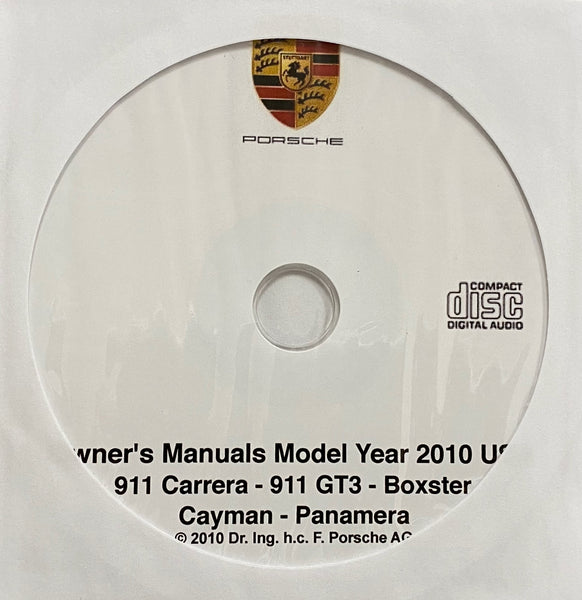 2010 Porsche 911 Carrera-911GT3-Boxster-Cayman-Panamera USA Owner's Manuals